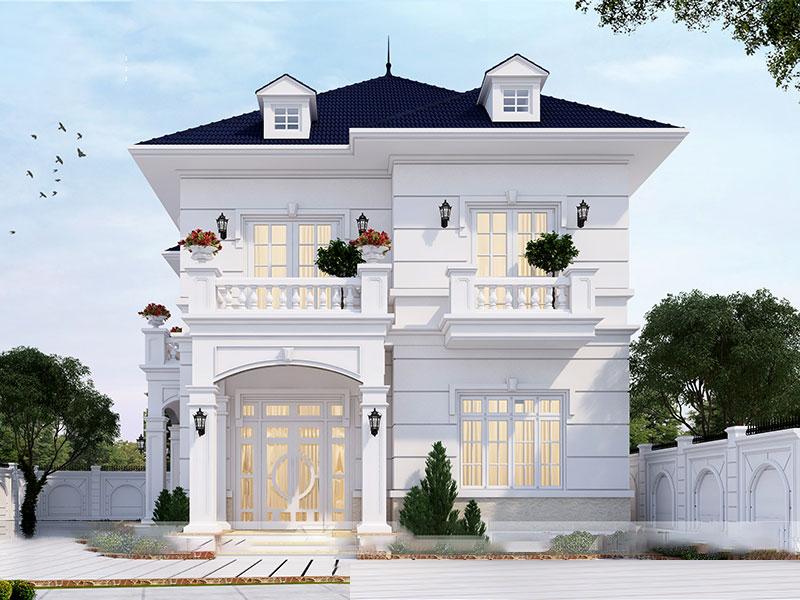 Biệt thự 2 tầng thiết kế ngoại thất đơn giản, trang nhã. Màu trắng hiện đại kết hợp uyển chuyển với cảnh quan sân vườn