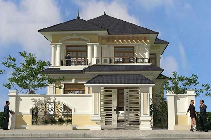 Mẫu nhà biệt thự mini 2 tầng hiện đại với kiến trúc mái thái giật cấp độc đáo