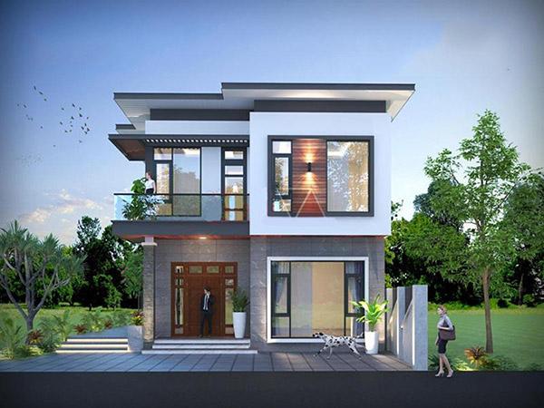 Thiết kế biệt thự 2 tầng mái bằng tạo nên căn nhà vững chắc, kiên cố