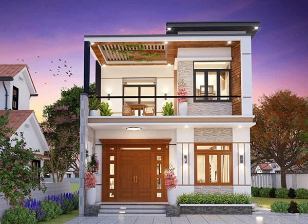 Mẫu biệt thự 2 tầng mini với kiến trúc ấn tượng, thu hút. Phía trần nhà được thiết kế nẹp gỗ tạo nên dây leo ấn tượng