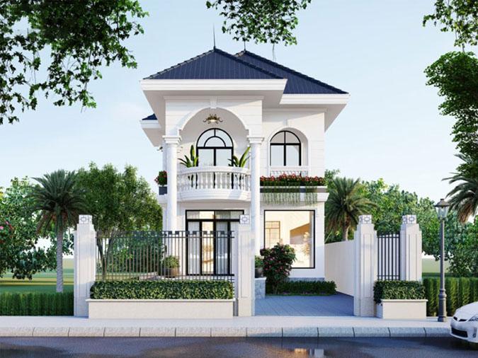 Mẫu biệt thự 2 tầng mini sử dụng lối kiến trúc tân cổ điển sang trọng ở mặt tiền. Sơn trắng trang nhã tạo nên sự kết hợp hài hòa đối với tiểu canh xanh