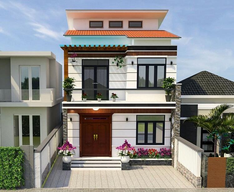 mẫu nhà 2 tầng 7x13m